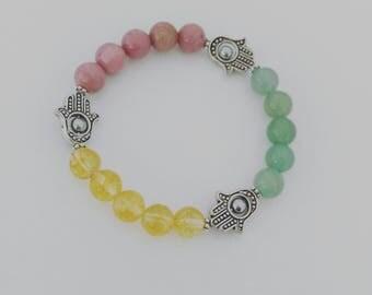 3 Stone Yoga/Chakra Stretch Bracelet, Handmade Jewelry, Handmade Beaded Bracelets, Natural Beads, Gemstone Bracelets, Beaded Bracelets