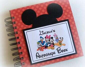 CLASSIC FAVORITE! Orange polka dot PERSONALIZED  Disney Autograph Book Scrapbook Travel Journal Vacation Photo Book