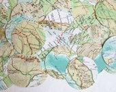 vintage map punches, vintage maps, junk journal ephemera, 50 pieces