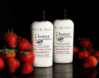 Strawberry Shea Butter Lotion | Strawberry Lotion | Lotion | Hand Lotion | Body Lotion | Vegan Lotion | Organic Lotion | Handcrafted