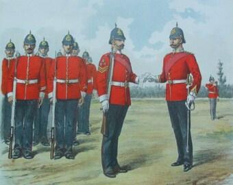 The Sherwood Foresters Derbyshire Regiment 45th And 95th Foot Vintage Colour Print Army British Military History Soldiers