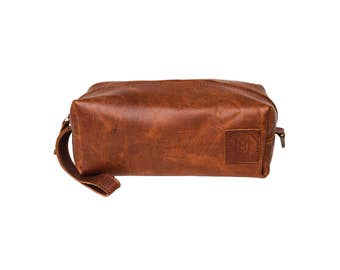 Personalized Leather Wash Bag - Ideal as Wash Bag or for Men's Shaving Kit or Dopp Kit