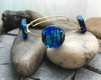 Adjustable Blue Brilliant Wire Wrapped Gold Bangle Bracelet