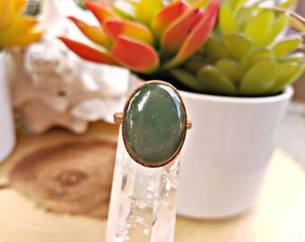 Size 7. Copper Electroformed Aventurine Crystal Ring