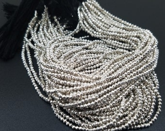 2 mm , Silver Pyrite Micro-Faceted, 13 Inch
