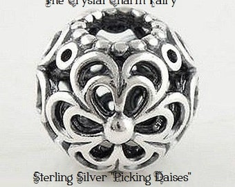 "Silver European ""PICKING DAISES"" Charm Bead AUTHENTIC Sterling Silver Stamped 925 Fits / Large Hole / Pandora / European / Bracelets"
