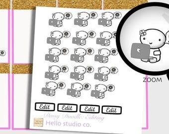 Edit planner stickers. Emoti edit planner stickers. Doodle planner stickers