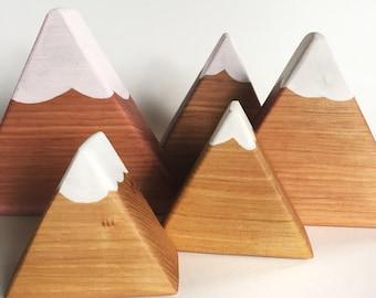 Mountain Blocks, Hickory Wood Blocks, Set of 5