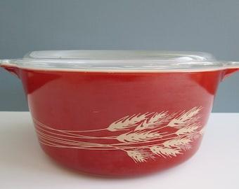 Vintage Pyrex Autumn Harvest 475-B Round Casserole Dish With Matching Lid