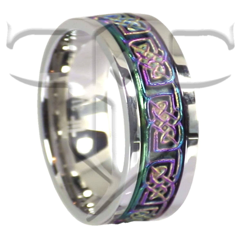 Celtic Spinner Ring Stainless Steel Rainbow Celtic Spinner