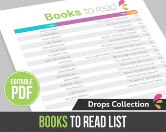 Books to read list / wishlist - Instant Download! Editable PDF file, ready to edit and print at home!