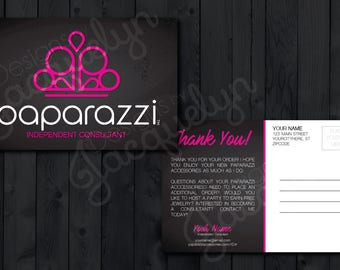 "Paparazzi Accessories - Classy Dark Design - ""Thank You for Your Purchase"" Postcard - Customized - Double Sided - Printed - 4x6"