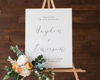 Printable Wedding Welcome Sign, Modern Wedding Signs, Minimal Wedding, Wedding Poster, Welcome to Our Wedding Sign, Black and White Poster