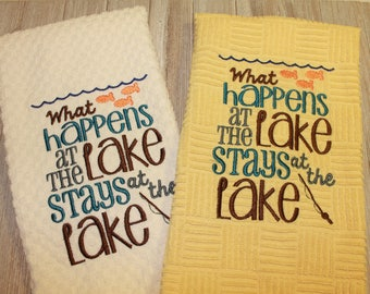 Embroidered Kitchen Towel, Lake, Lakehouse, kitchen towel, Waffle Towel, Home, Camping, kitchen, gift, handmade, embroidered