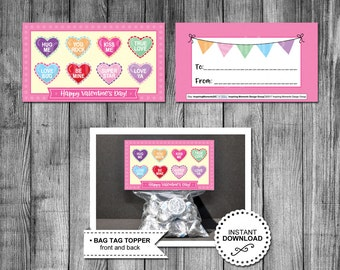 Printable Valentine Bag Tags   Conversation Hearts   Valentine Treat Bag Toppers   Romance   Love   Candy   Favor Tags Instant Download