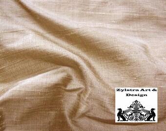 LIGHT ALMOND SILK fabric, by the yard, dupioni silk, upholstry fabric, fashion fabric, interior decor, bolt, gold, beige