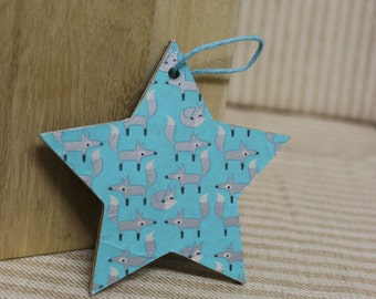 Hanging wooden start/ Silver fox pattern
