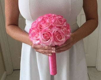 Bridesmaid Bouquet, Real Touch Rose Bouquet, Blush Bouquet, Blush Rose Bouquet, Pink Rose Bouquet, Real Touch Roses, Bridesmaid Bouquet