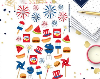 Memorial Day, 4th of July or Labor Day BBQ Deco Planner Stickers! HS600