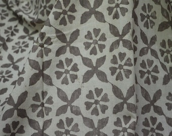 Indian Fabric Dabu Block Printed cotton fabric, Hand Stamped Fabric, Soft Cotton Fabric by the yard in Brownish-grey