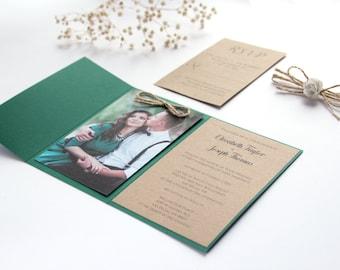 Forest Green Wedding Invitation, Hunter Green Wedding Invitation, Rustic Green Wedding Invitation, Wedding Invitation with Photography