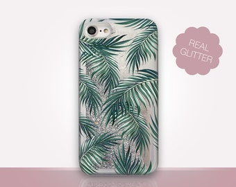 Palm Leaves Glitter Phone Case Clear Case For iPhone 8 iPhone 8 Plus - iPhone X - iPhone 7 Plus - iPhone 6 - iPhone 6S - iPhone SE  iPhone 5