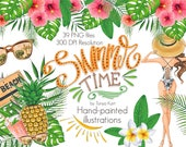 Hawaii Clipart, Summer Time Clipart, Summer Hand Painted Clipart, Beach Clipart, Tropical Flowers, Tropical Leaves Clipart, Pineapple, Aloha