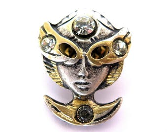 Vintage Venetian Mask Pin Rhinestones Crystals Silver Gold Tone Italy New Old Stock