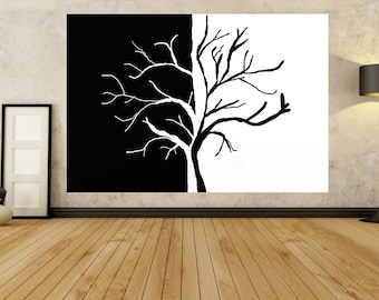 Large Black White PAINTING Unstretched Canvas Original Abstract Huge Painting Modern Contemporary Home Decor Giant Wall Art PAINTINGS Titan