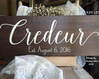 """9.25x23"""" Last Name Sign; Last Name Wall Art; Wedding Name Sign; Family Name Sign; Last Name Rustic Wood Sign; Personalized Established Sign"""