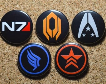 Mass Effect Button Set - N7 Badge, Renegade Badge, Paragon Badge, Cerberus Badge & Alliance Badge