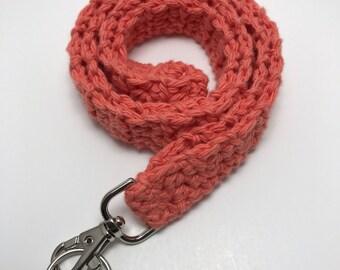 Tangerine Crochet Lanyard, Crochet Lanyard, Handmade Cotton Lanyard, Gift for Her, Teacher Gift, ID Holder, Keys, Crochet Key Holder