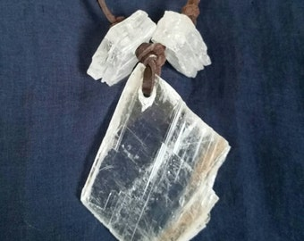 Selenite Crystal Tribal Necklace // Gypsy Bohemian Crystal Jewelry // Healing White Selenite Gemstone // Meditation Stone // Gift for Him