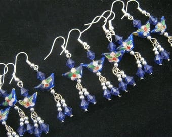 1 x  Pair of Stunning Cloisonne Blue BUTTERFLY Earrings, Bagged and Brand New Lovely Treat or Gift