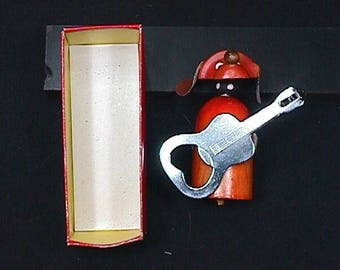 Vintage 1960's Dog Guitar Player Bar Top Bottle Opener