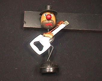 Vintage 1960's Bearded Clown Bar Top Guitar Playing Bottle Opener