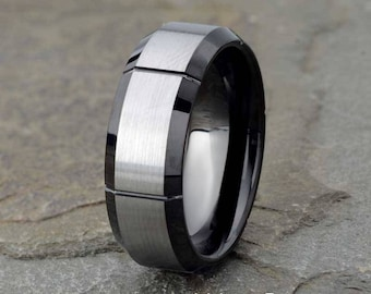 Black Brushed Tungsten Wedding Band, Grooved Mens Wedding Band, 8mm Mens Tungsten Ring, Anniversary Ring, Mens Gift Tungsten Ring