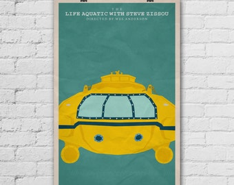 The Life Aquatic with Steve Zissou Poster. Wes Anderson Poster. Movie Art Print. Pop Culture and Modern Home Decor Poster. Item No. 276