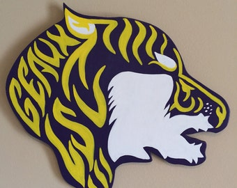 Geaux Tigers LSU Sign, LSU Door Hanger, Tigers Decoration, College Football Sign, Louisiana Tigers, Purple and Gold, LSU Tigers Wooden Sign