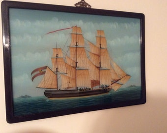 Vintage tall ship oil painting framed reverse on glass rose wood frame seascape Chinese export merchant three mast ship oil painting
