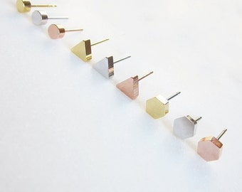GOLDEN studs mini brass plated gold / plated rose gold / rhodium plated