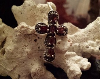 Sterling silver garnet cross with sterling silver chain