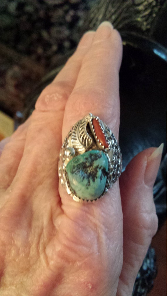 Sterling silver vintage native American turquoise men's ring