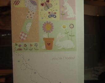 Birthday Girl You're 7 Today  Card