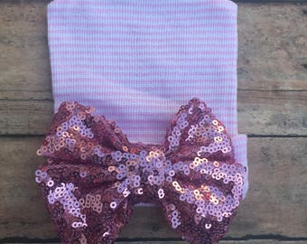Newborn hospital hat - Bow hat - Baby Girl Hospital Hat - Beanie with Bow - pink sequin - sparkle bow - baby hat - girl hat - Baby girl hat