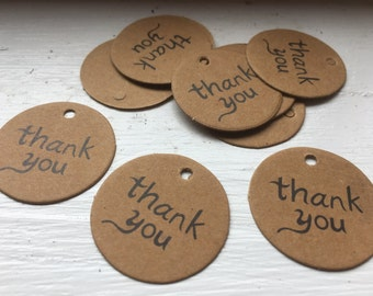 Round Eco Brown Kraft Thank You Tags