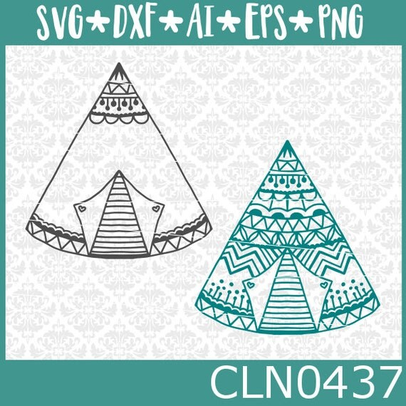 CLN0437 Tent TeePee Boho Zentangle Decorated Name Frame SVG DXF Ai Eps PNG Vector Instant Download Commercial Cut File Cricut Silhouette