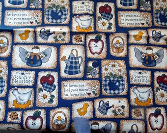 """Vintage Quilting Fabric Country Kitchen Cooking 100% Cotton 44"""" Wide BTY Gift Seamstress Decorator Project DIY"""