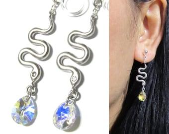 Snake clip-on earrings |8G| Matte Silver Plate Non Pierced earrings Dangle Bridal Wedding Rhinestone Clip on earrings Bridesmaid Clip On