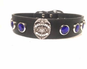 Leather Dog Collar-  Thin Blue Line -K9, k9 unit, police badge, blue line, working dog, latigo leather, dog, pet, custom dog collar